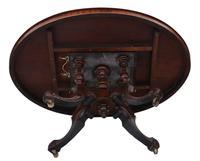 Victorian Burr Walnut Marquetry Oval Loo Breakfast Table Tilt Top (10 of 11)