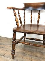 Antique 19th Century Ash & Elm Smokers Bow Chair (5 of 12)