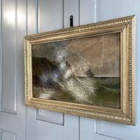 Antique Marine Coastal Seascape Oil Painting Entitled On the Yorkshire Coast by Tom Owen (5 of 10)