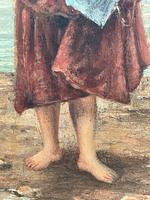 """Pair of Victorian Oil Paintings """"Cockle Pickers"""" Female Figures on Beach Shoreline (14 of 33)"""