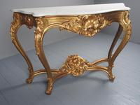 George II Style Marble Top Gilded Console Table (5 of 12)