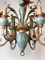 Large Vintage French 6 Arm Polychrome Toleware Ceiling Light Chandelier (3 of 16)