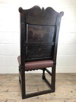 Early 18th Century Carved Oak Chair with Leather Seat (M-192) (6 of 10)
