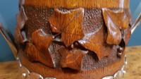 Large Antique Oak Carved Silvered Loving Cup (6 of 8)