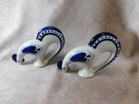 "Pair of Gzhel Blue & White Porcelain ""Pecking Chickens"" (10 of 10)"