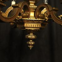 French Gilded Bronze 6 Light Antique Chandelier (7 of 10)