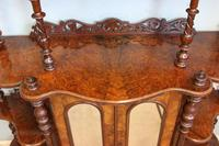 Antique Victorian Burr Walnut Display Whatnot Side Cabinet (9 of 13)
