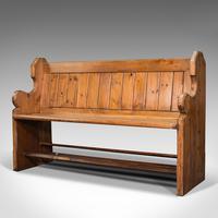 Antique Bench Seat, English, Pine, Pew, Ecclesiastic Taste, Victorian c.1900 (3 of 12)