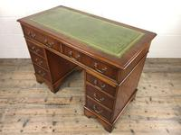 Late 20th Century Yew Wood Pedestal Kneehole Desk (9 of 14)