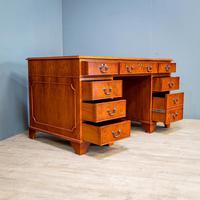 Yew Wood Effect Pedestal Desk (2 of 9)