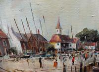 Large Oil on Canvas Dockside View Listed Artist Ira Englefield (8 of 12)