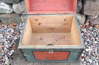 Scandinavian / Swedish 'Folk Art' Small blue-black orginal paint, Hälsingland table chest box 1814 (21 of 25)