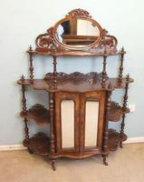 Antique Victorian Burr Walnut Display Whatnot Side Cabinet (10 of 13)