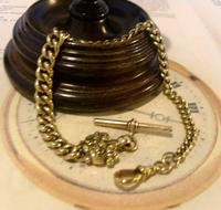 Antique Pocket Watch Chain 1870s Victorian Huge Brass Albert With T Bar & Fancy Mount (3 of 12)