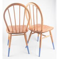 Pair of Ercol Windsor Chairs with Blue Legs (2 of 7)