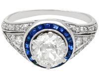 2.59 ct Diamond, 0.48ct Sapphire & Platinum Dress Ring  c.1930 (7 of 9)
