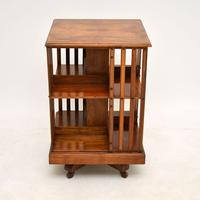 Antique Victorian Walnut Revolving Bookcase (3 of 10)