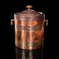 Antique Fireside Bin, English, Copper, Brass, Decorative, Scuttle, Edwardian (2 of 12)