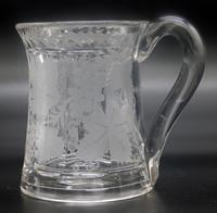 Good Engraved Glass Marriage Tankard with Vine Hops & Barley 19th Century (8 of 11)
