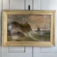 Antique Marine Coastal Seascape Oil Painting Entitled On the Yorkshire Coast by Tom Owen (2 of 10)