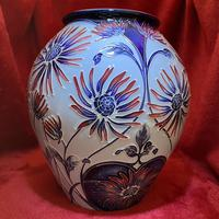 Rare Moorcroft pottery Trial pattern vase designed by Carol Lovatt, complete with its original box