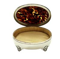"Sterling Silver & Tortoiseshell 5"" Trinket Box - Mappin & Webb 1931 (4 of 10)"