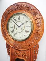 Massive Rare Antique Carved Walnut 8-Day Drop Dial Striking Wall Clock (8 of 14)
