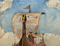 Unusual Original 19thc Seascape watercolour Painting - 11thc Vikings & Longboat (3 of 11)