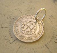 Vintage Pocket Watch Chain Fob 1941 WW2 Lucky Silver Three Pence Old 3d Coin Fob (3 of 6)