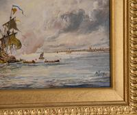 "Oil painting by Adolphe Ragon ""The Spanish Armada being fire-shipped by Sir Francis Drake at Calais"" (4 of 4)"