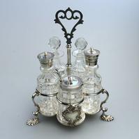 A Fine Silver Plate Warwick Type Cut Glass 5 Bottle Cruet C.1863/64 (2 of 9)