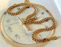 Victorian Pocket Watch Chain 1890s Large 10ct Rose Gold Filled Double Albert & T Bar (3 of 11)