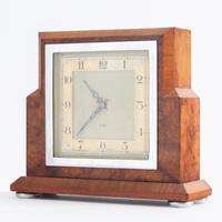 Smiths Art Deco Burr Walnut Cased 8-Day Mantle Clock c1935 (3 of 9)