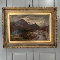 Antique Victorian Scottish landscape oil painting with shepherd and flock of sheep (5 of 10)