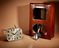 Art Deco Westminster Girod Carillon Oak, Rosewood & Fruitwood Wall Clock French c.1940 (7 of 9)