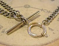 Victorian Pocket Watch Chain 1890s Antique Albo Silver Curb Link Albert With T Bar (9 of 12)