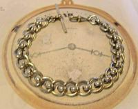 Antique Pocket Watch Chain 1920s Large Silver Nickel Fancy Link Albert With T Bar (4 of 10)
