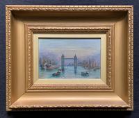 Superb Original 1921 View of Tower Bridge London Seascape Oil Painting