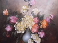 Large Oil on Canvas Bowl of Roses Signed (free Shipping to Mainland England (12 of 12)