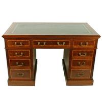 Victorian Mahogany & Satinwood Pedestal Desk (2 of 8)
