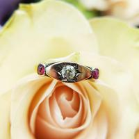 Antique Victorian 22ct 9ct Gold Old Mine Cut Diamond & Ruby Trilogy Ring | Three Stone Ring (7 of 10)