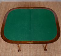 Writing Card Table Burl Walnut Circular Folding Desk (7 of 12)