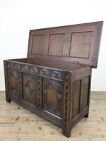 Early 20th Century Carved Oak Coffer or Blanket Box (4 of 12)