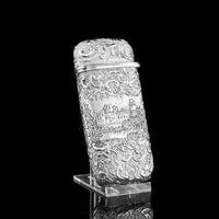 "Antique Solid Silver Victorian Cigar Cheroot Case ""Castle Top"" Windsor Castle Design - Nathaniel Mills 1844 (8 of 12)"