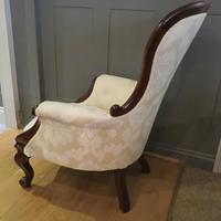 Victorian Walnut Armchair upholstered Cream Brocade (9 of 11)