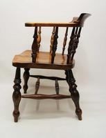Victorian Smokers Bow or Captains Chair, Elm / Beech - Large Seat, Wide Arms (10 of 13)