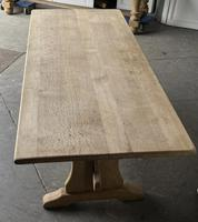 French Bleached Oak Trestle End Farmhouse Dining Table (5 of 19)
