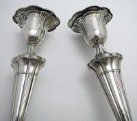 Pair of Antique 1903 Edwardian Solid Sterling Silver Candlesticks Candle Holders. English Sheffield (10 of 10)