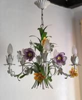 Vintage French 5 Arm Floral Toleware Chandelier (9 of 11)