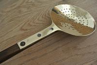 Fine 19th Century Brass Cream Skimmer on Ash Handle (4 of 5)